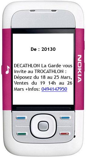 Publicité SMS Trocathlon
